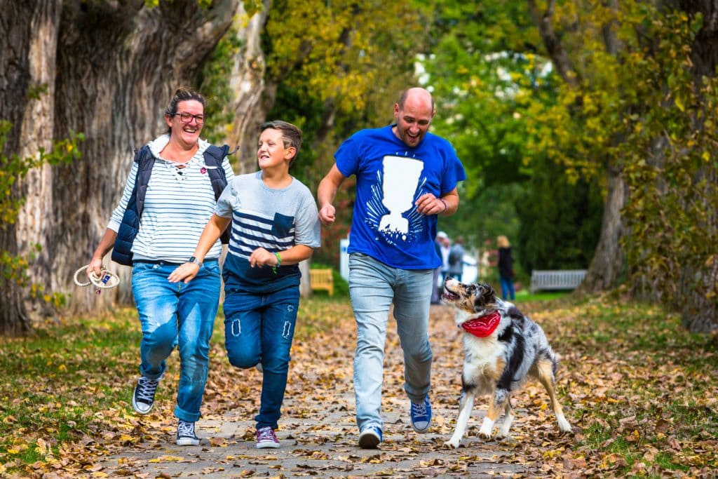 Family and Dog Running